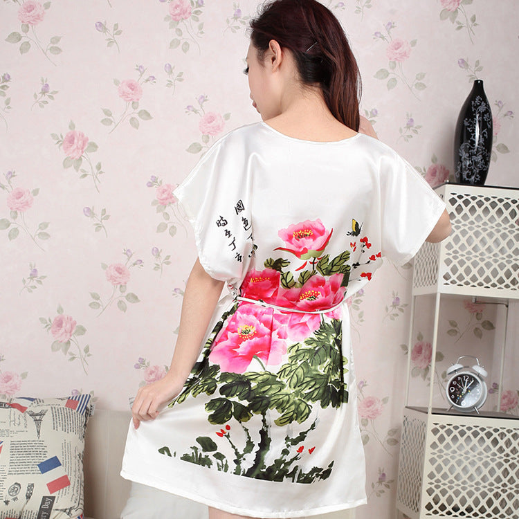 Vintage Chinese Style Women's Faux Silk Robe Gown Summer Print Flower Bathrobe Dress Sexy Mini Yukata Floral Nightgown One Size