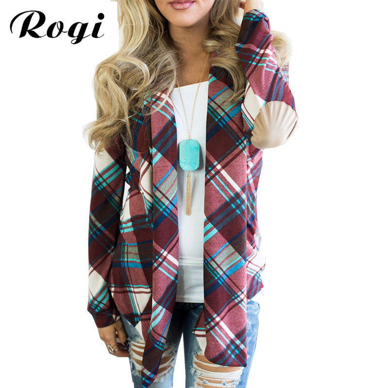 22d56fae1798a3 Rogi Women Knitted Cardigan 2017 Irregular Geometric Printed Ladies Sweater  Open Front Loose Jumper Outwear Coat