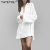 YAYEYOU Plus Size White Blouse Holiday Cotton Swimsuit Beach Sunscreen Clothes Jacket For Women