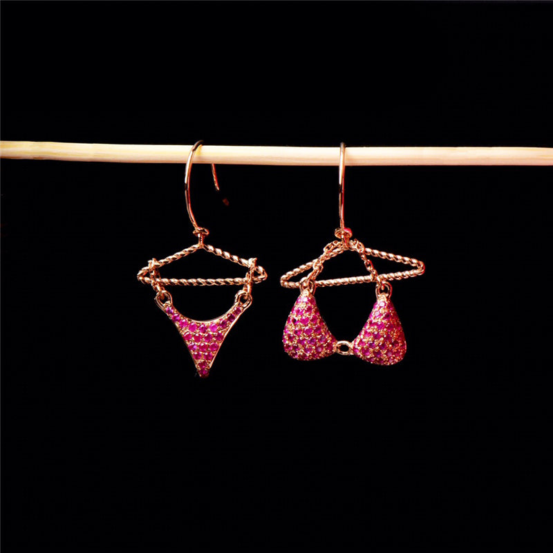 Aazuo 100% 18K Rose Gold White Gold  Natural Ruby Punk Originality Bras Underwear  Drop Earrings For Women Birthday Party Au750