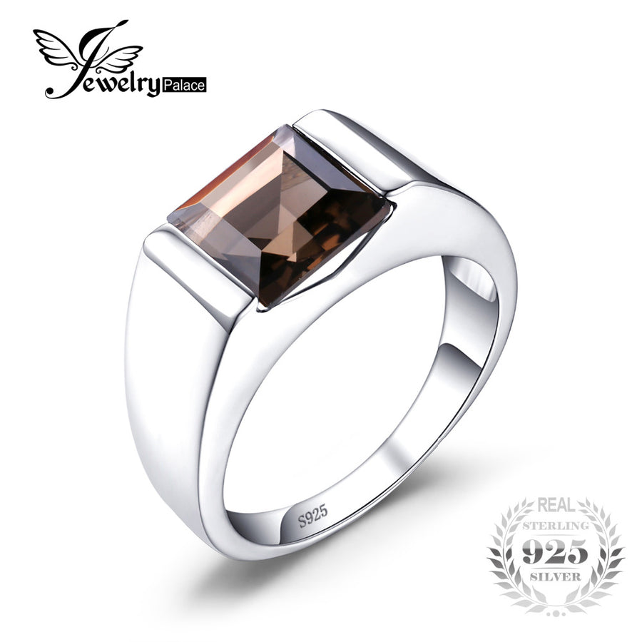 9f57de0db73836 Jewelrypalace Men's Square 2.2ct Genuine Smoky Quartz Wedding Ring 925 Sterling  Silver Wedding Ring For