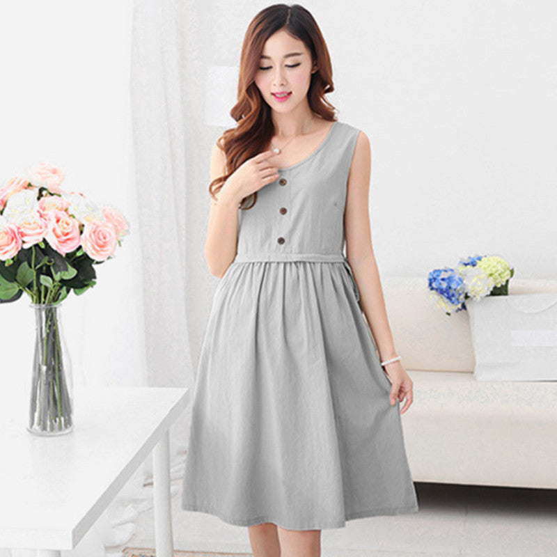 385005cdb202e 2526# Soft Summer Maternity Nursing Dress Loose Breastfeeding Clothes for Pregnant  Women Vest Pregnancy Breast