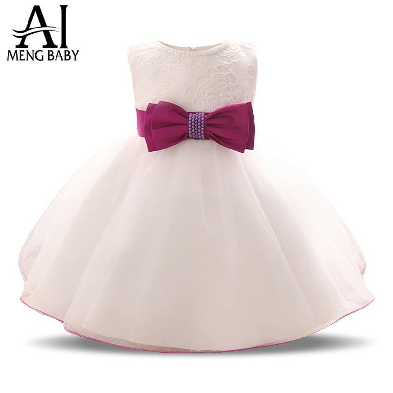 d29a176f Ai Meng Baby Toddler Girl White Dress For Baptism 1 2 Year Birthday Gift Infant  Kids