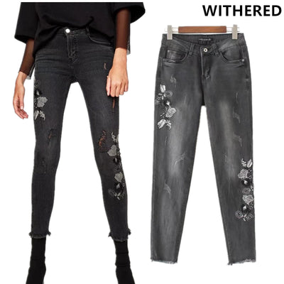 608d8add637 Withered 2017 jeans women foot burrs floral embroidery skinny high waist  stretch pencil jean ankle-
