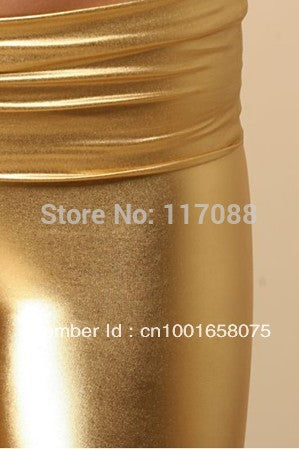Free Shipping ML7554 New Design Fashion Stretchy Jeggings Shiny Golden Leather Legging Faux Leather High Waist Leggings