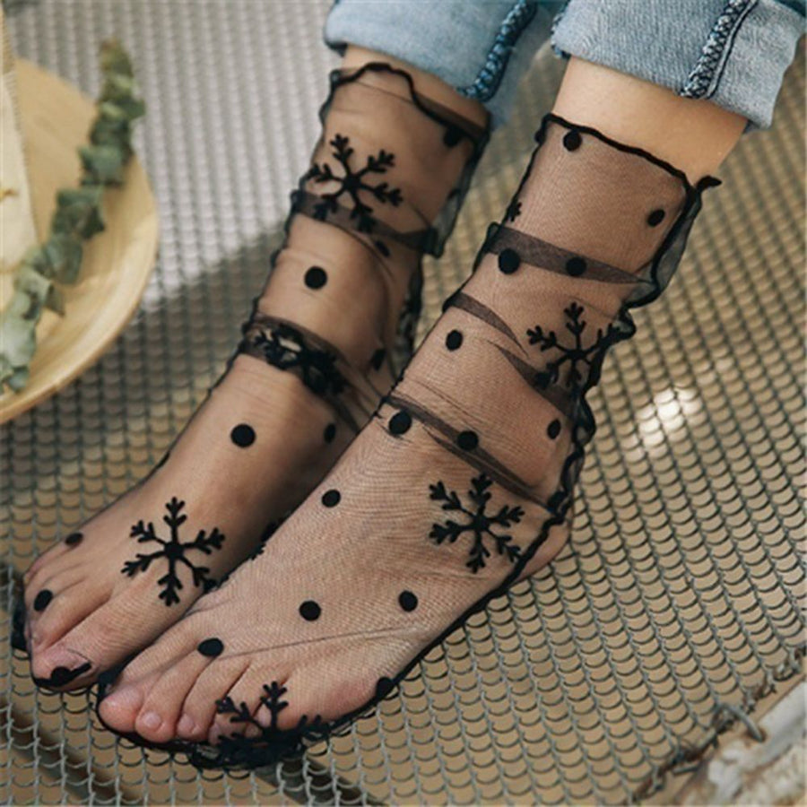 Woman Fashion Ruffle Fishnet Ankle Socks Transparent High Quality Lady Mesh Lace Fish Net Short Socks