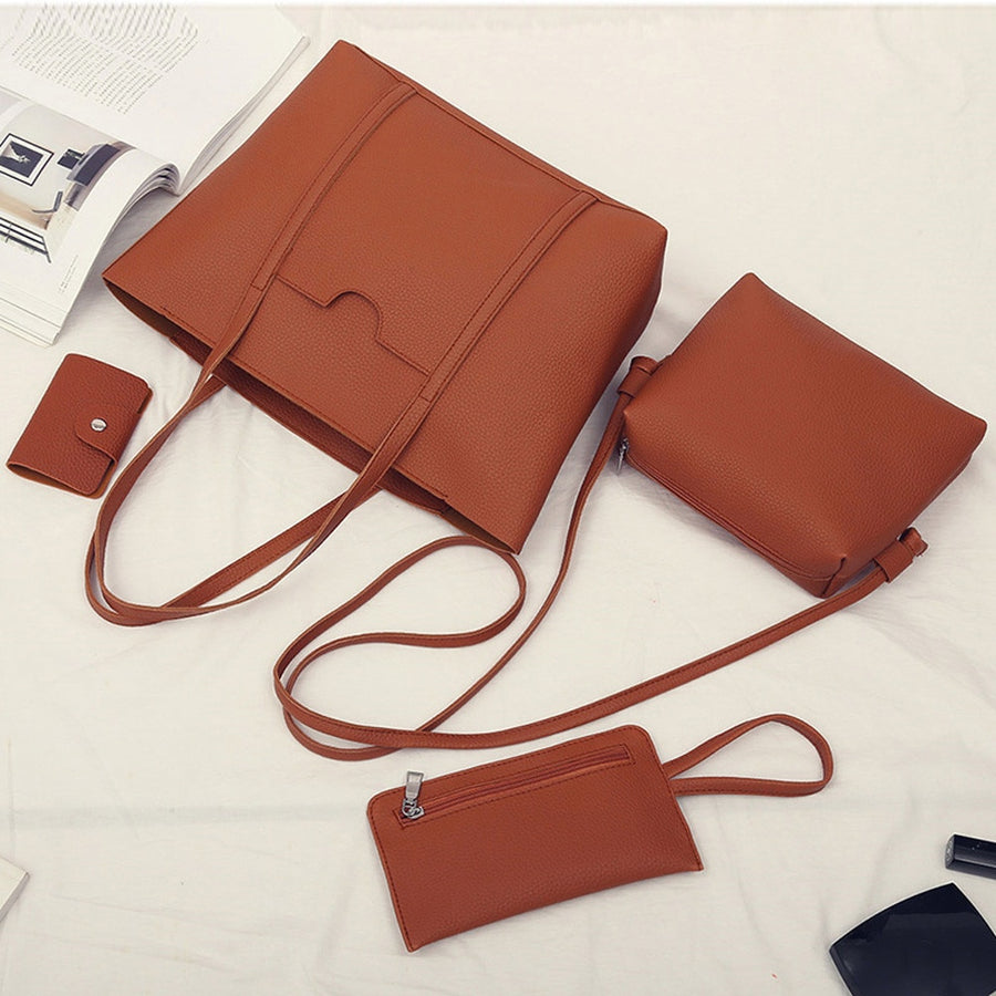 CONEED Women Bag Women Four Set Handbag Big Capacity Female Bag Fashion Solid Shoulder Bag Ladies PU Leather Crossbody Bag No5
