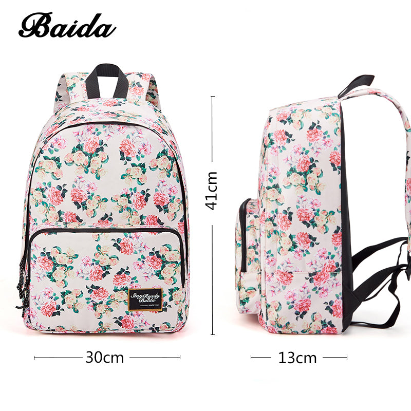 bf3826f3ae BAIDA Brand Fashion Floral Print Backpack School Book Bags Yellow and Pink Rose  Flower Backpacks for