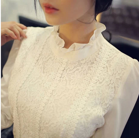 2015 Women Crochet Blouse Lace Chiffon Shirt White/Black Basic Shirt Ladies Stand Collar Ruffles Blusas Femininas S0377