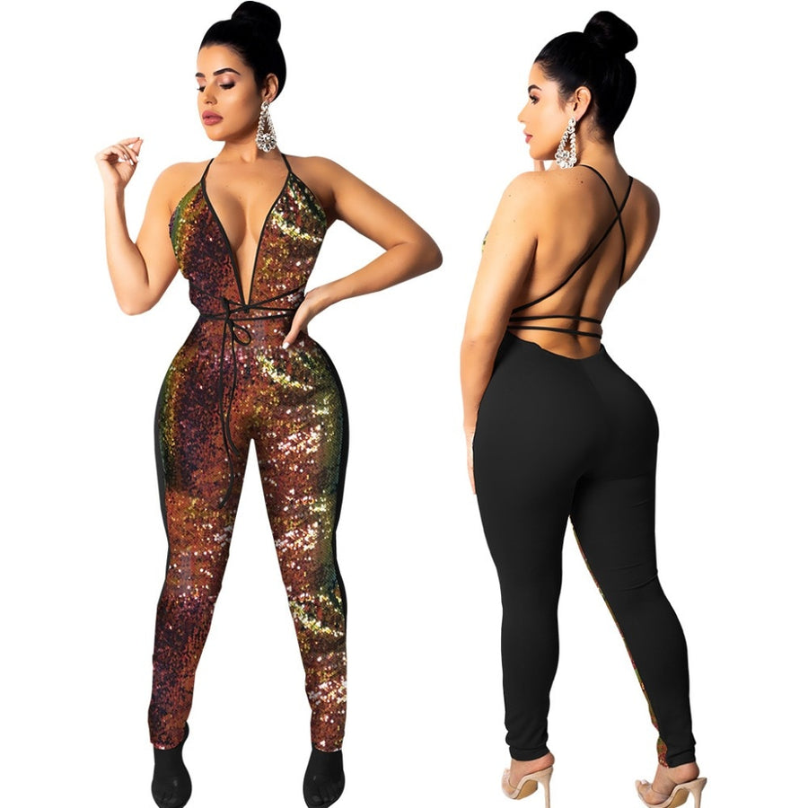 2e72e487771f Hot Sale Sequined Spliced Sexy Party Jumpsuit Women Deep V Neck Backless  Lace Up Romper 2018