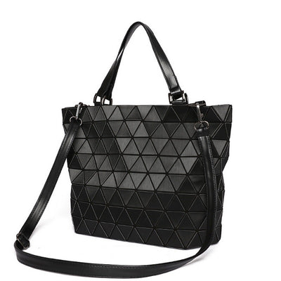Matte Women BaoBao Bag Geometry Sequins Mirror Saser Plain Folding Shoulder  Bags Luminous Handbag Casual Tote b4b6903efa1a7