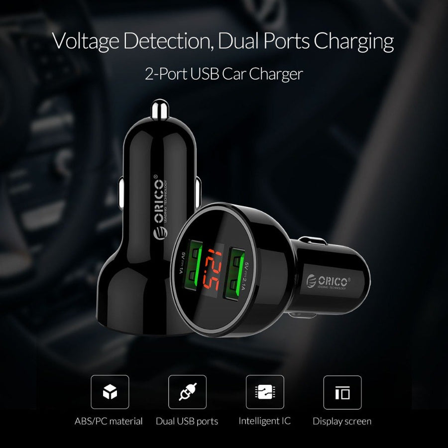 ORICO Dual Ports USB Car Charger with Display Screen Mobile Phone Charger for iPhone Xiaomi Samsung Huawei Tablet Car-Charging
