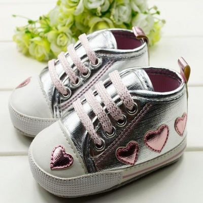 0-18M Baby Toddler Girls Cute Shoes Silver Crib Heart Walking Soft Sneaker First Walkers New - upcube
