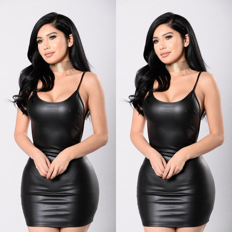 48859ab0fa Sexy Backless PU Clubwear Dress 2017 Black Wet Look Bodycon Faux Leather  Party Catsuit Mini Micro