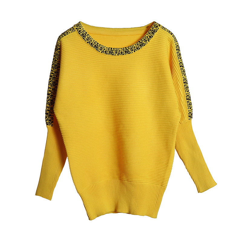 b58160b781cd5a Large Size Knitted Women s Bat Sleeve Pullover Yellow Pull Femme O-Neck  Casual Sweater for