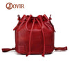 JOYIR Vintage Fashion Women Genuine Leather Bucket Bag Tassel Drawstring Shoulder Bag Messenger Crossbody Bags Multifunction Bag