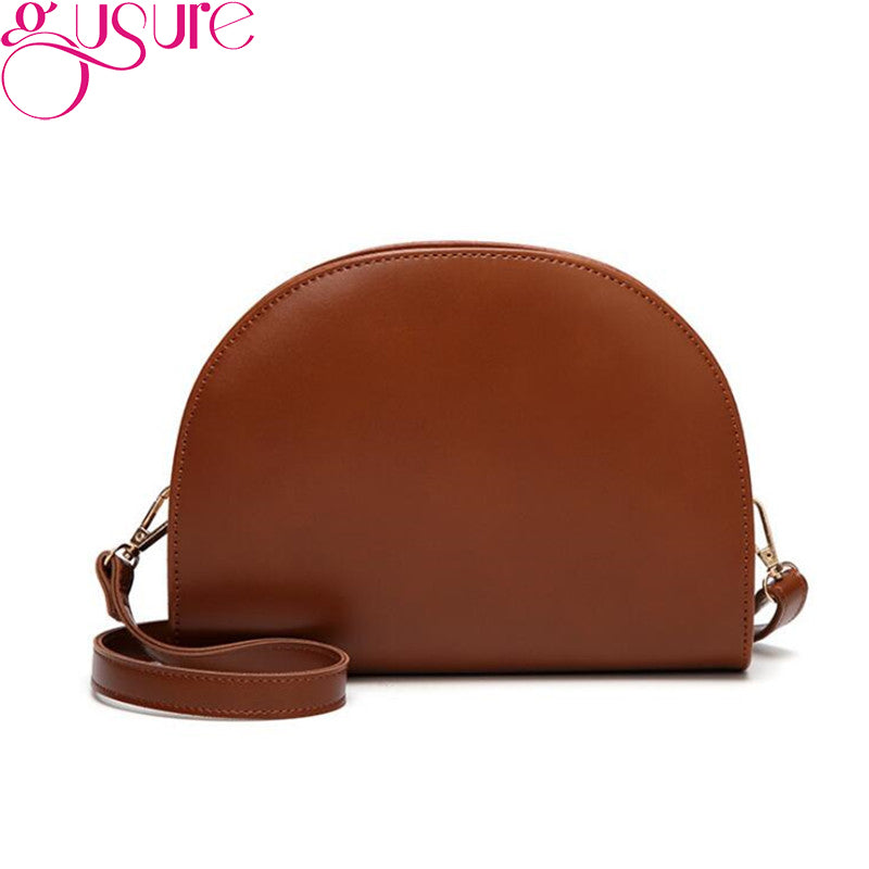 Gusure Elegant Simple Half Round Women's Bag Lady Solid Color Sling Shoulder Bags Oil wax leather Messenger Zipper Bags