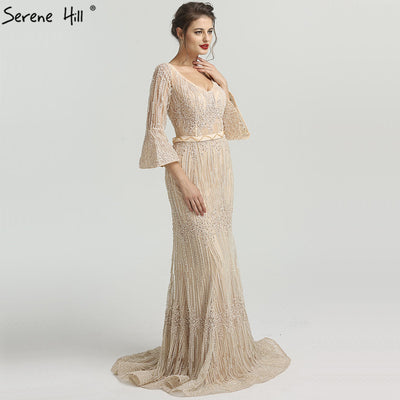 ad439203d4bb4 Long Sleeves Fashion Luxury Evening Dresses V-Neck Mermaid Pearls Crystal  Sexy Evening Gowns 2018 Serene Hill LA6489