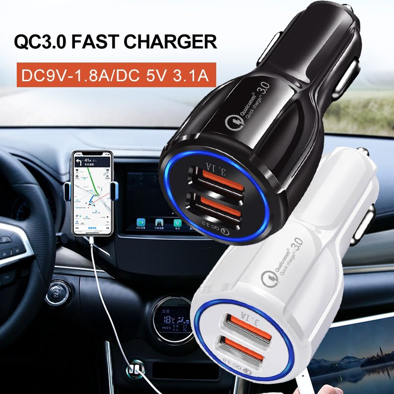 Car Charger Quick Charge 3.0 2.0 Mobile Phone USB Charger 2 Port USB Fast Car Charger for iPhone X Samsung S8 Tablet Car-Charger