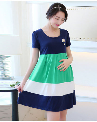 c259313cd2c Summer Maternity Clothing Cotton Maternity Dress Gravida Roupa Gestante  Dresses for Pregnant Women Hit Color Pregnancy