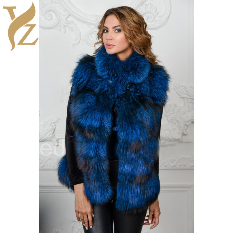 New 100% Real Silver Fox Fur Coats Dyed Blue Color Vests Stand Warm Collar Full Skin Fox Fur Gilet Women Customised Plus Size