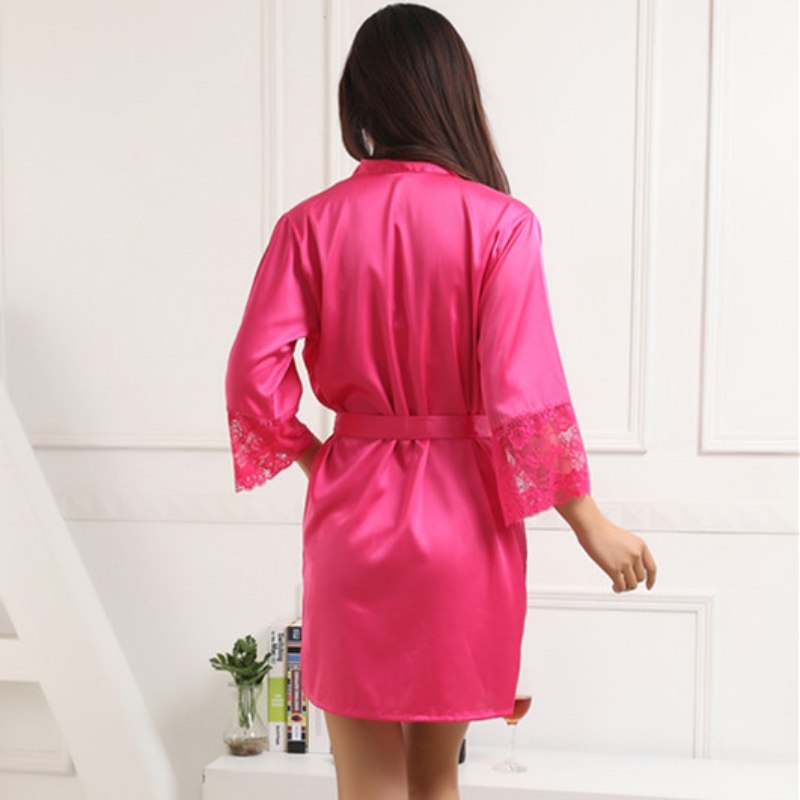 Women Silk Satin Robes Sexy Kimono Nightwear Sleepwear Pajama Bath Robe Nightgown With Belt LS5