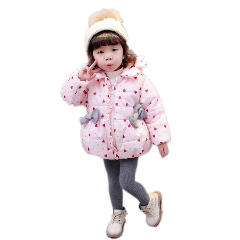 8dcfe25eda99 Winter Baby Clothing Girls Love Heart Jackets Infant Cute Thick Warm S