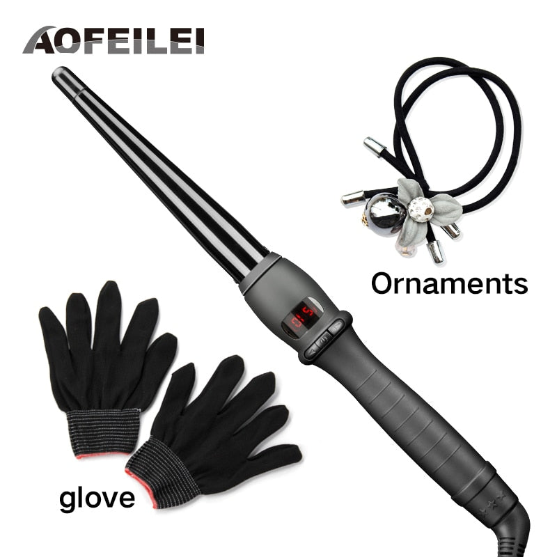 2017 Real Black Ceramic Hair Curling Iron Wave Machine Pro Spiral Curlers Rollers Wand Styling Tools Lcd Hairdressing Salons