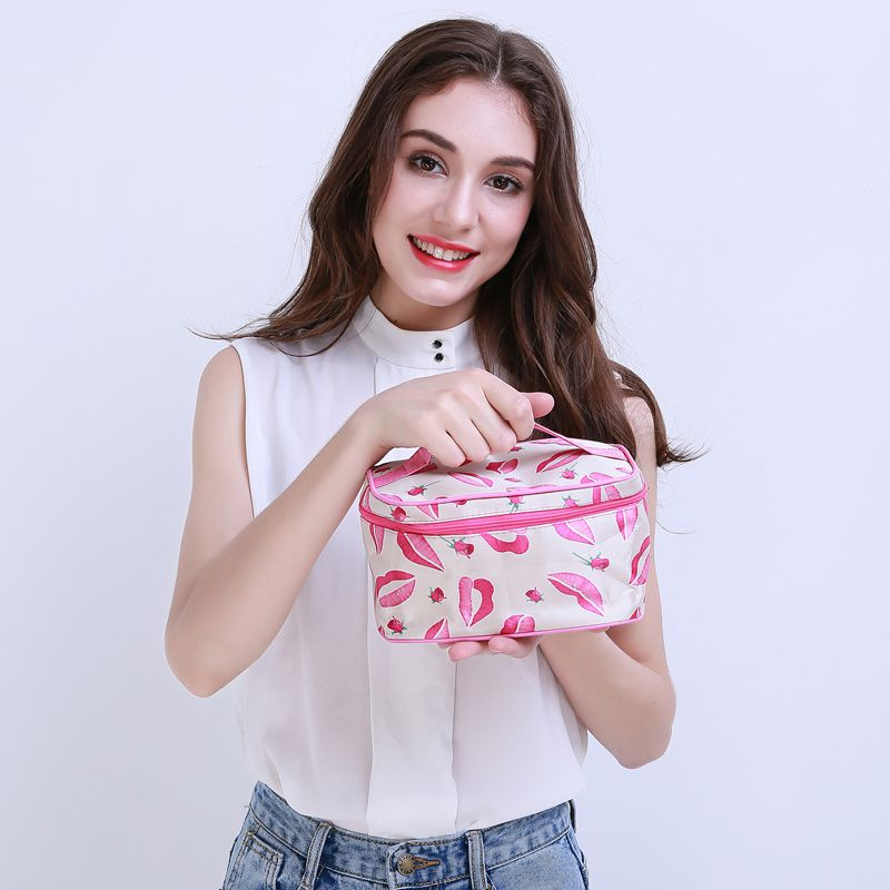 !New Portable Type Bag Zipper Cosmetic Storage Make up Bag Jewelry bag Handle Train Case Purse Toiletry Pouch YA40-100 - upcube
