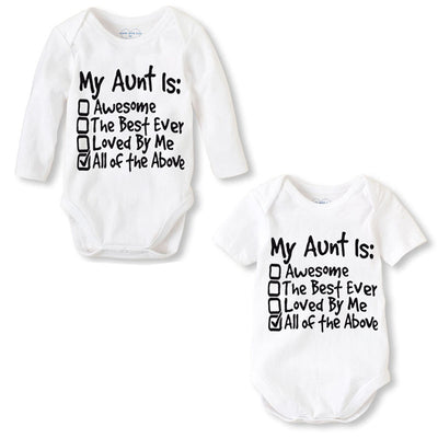 7177a91209c4 Fashion Newborn Baby Clothes Baby Romper pajama Long Sleeve Print My Aunt Baby  Girl boy Clothes