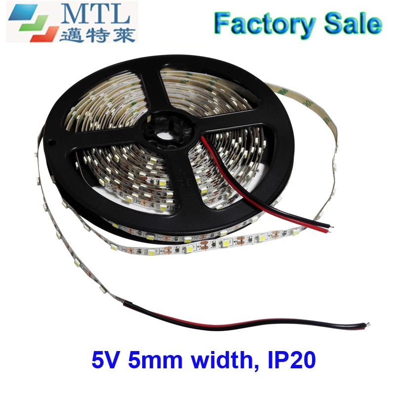 5V 60LED/M, high brightness, 5MM width PCB 3528 LED strip, led tape, 50M/lot, IP20, 2 years warranty, Factory Wholesale