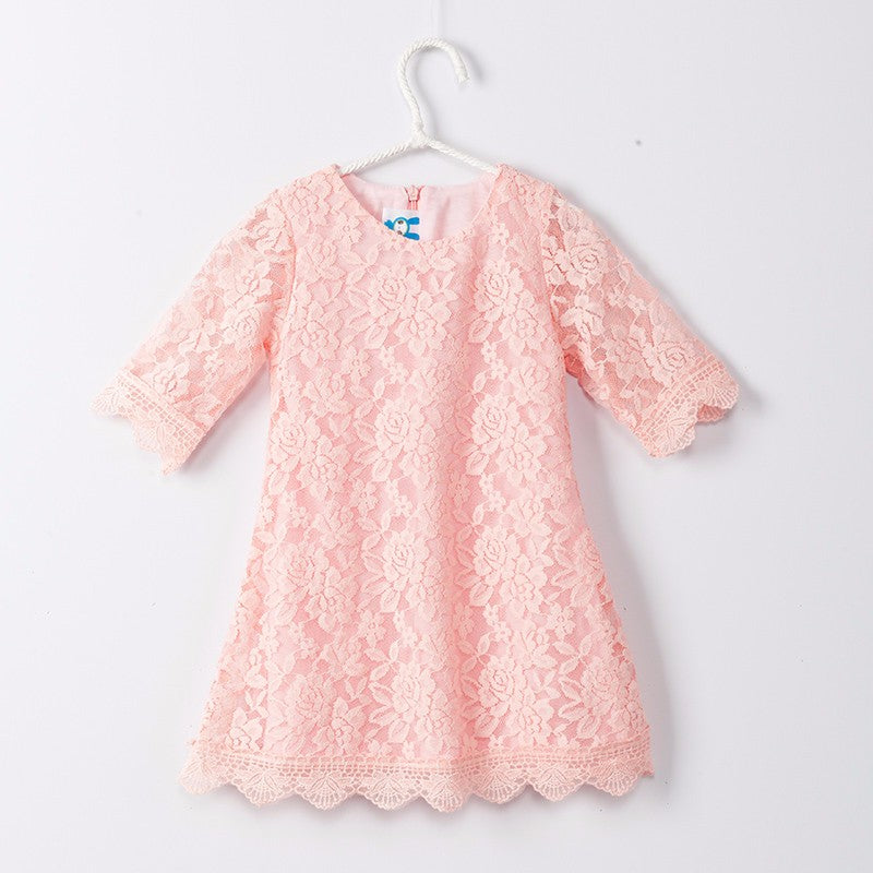 14f65affaa2e New Baby Girls Flower Lace Dresses 2017 Spring Summer Children s Party