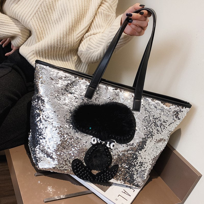 Good Quality Sequin Stitching Pu Cartoon Pattern Casual Women Handbag Shoulder Bag Large Capacity Shopping Bag Female Bolsa