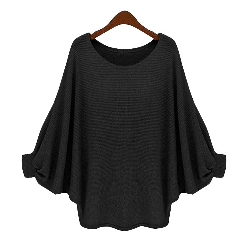 2018 Fashion Women Loose Casual Thin Pullovers Sweaters Baggy Batwing Sleeve Plain Jumper Sweater Soft Knitwear Spring Autumn