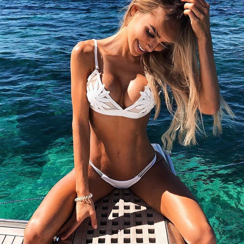 PLAVKY 2018 Sexy White Mesh Embroidered Flower Strappy Biquini Micro Bathing Suit Swimsuit Thong Swimwear Women Brazilian Bikini