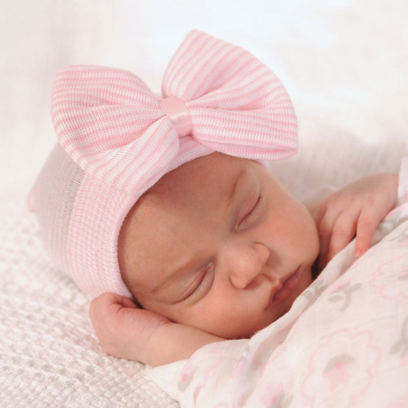 68de9ff898b88 0-3 Months Hospital Newborn Baby Hats Cotton Beanies With Bow Soft Knit  Tire Striped