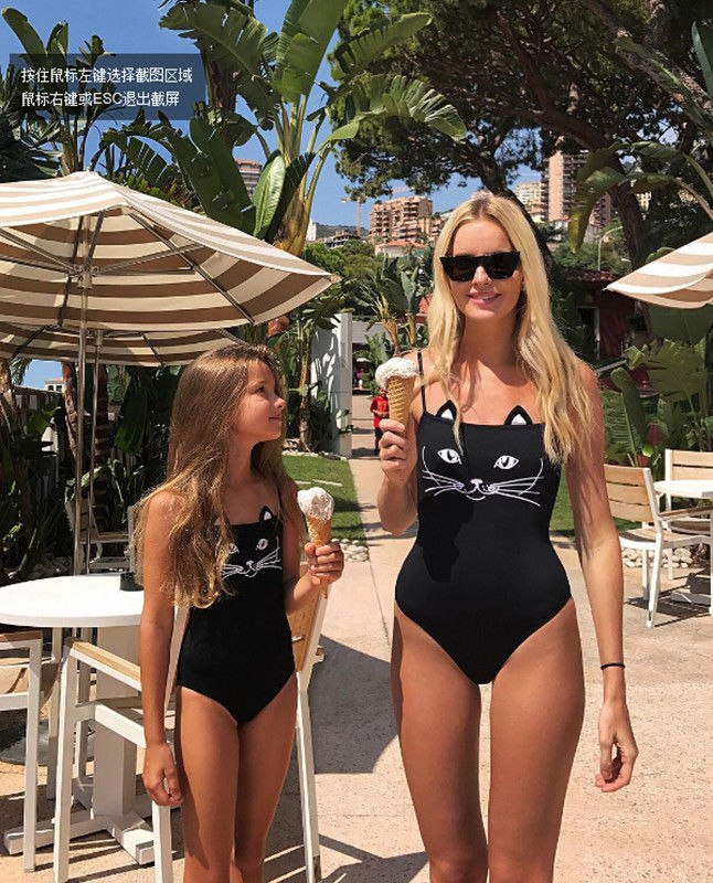 2018 Family Matching Swimwear Mother Daughter Women Kid Bikini Bahitng Swimsuit Cat Smile Cute Black Brachwear Set