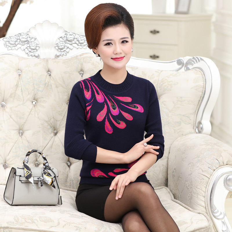 9725a641266b0 NIFULLAN Women Knitted Sweater And Pullover Long Sleeve Diamond Jumper Plus  Size Mother Print Knitwear Tops