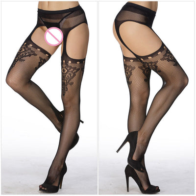 1217d3eef7651 2017 Hollow Out Tights Lace Sexy Stockings Female Thigh High Fishnet  Embroidery Transparent Pantyhose Women Black