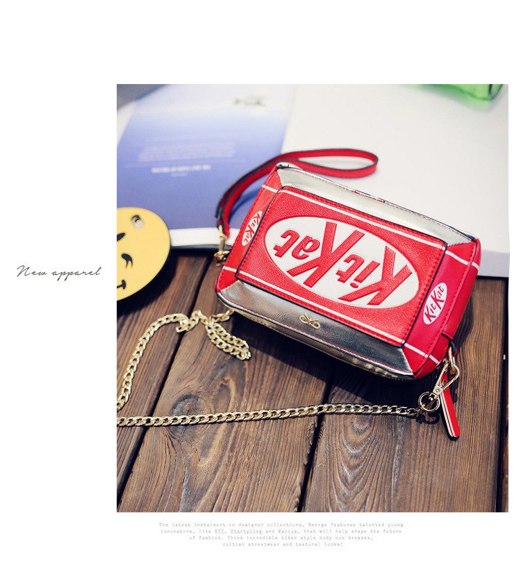 2017 New Handbag Small Box Shape Shoulder Bag Funny Personality Crossbody Bag Diagonal Chain Bag Fashion Messenger Bag