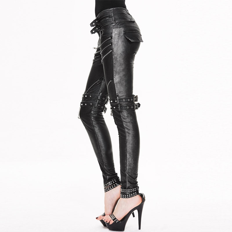 Devil Fashion Steampunk Black PU Leather Pants for Women Gothic Vintage Casual Tight Pants Black Silver& Brassy Long Trousers