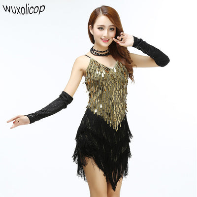 cb3792eb0bdb Shining V Neck Stage Clothing Costume Latin Dance Dresses Women s Art
