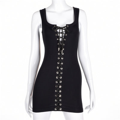 983528c9ad01 Simenual Crisscross lace up hollow out summer dress bodycon bandage elegant  sexy hot short tanks party
