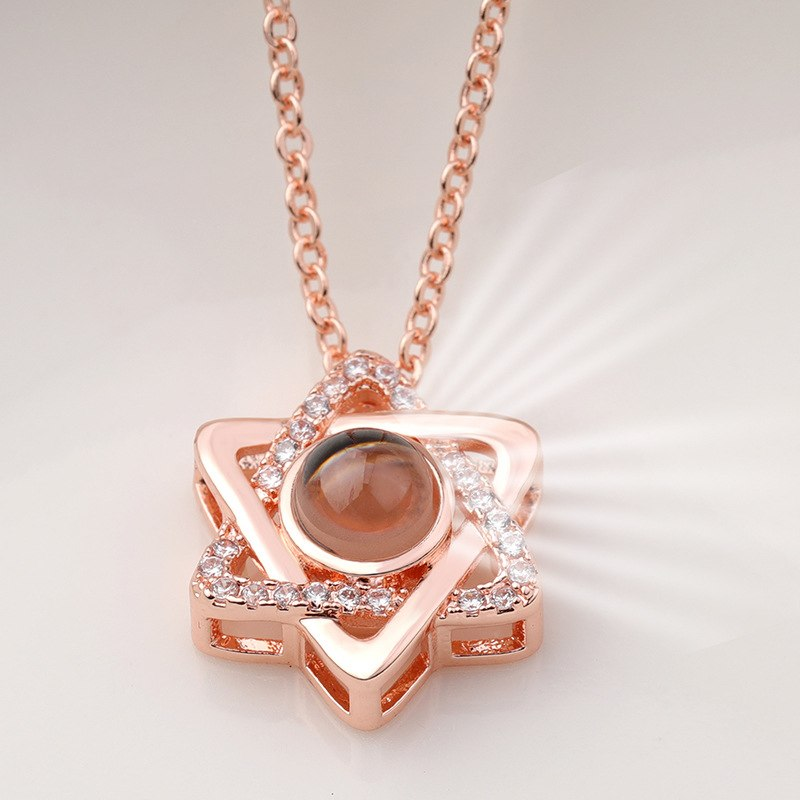 Rose Gold&Silver 100 languages I love you Projection Pendant Necklace Romantic Love Memory Wedding Necklace  294