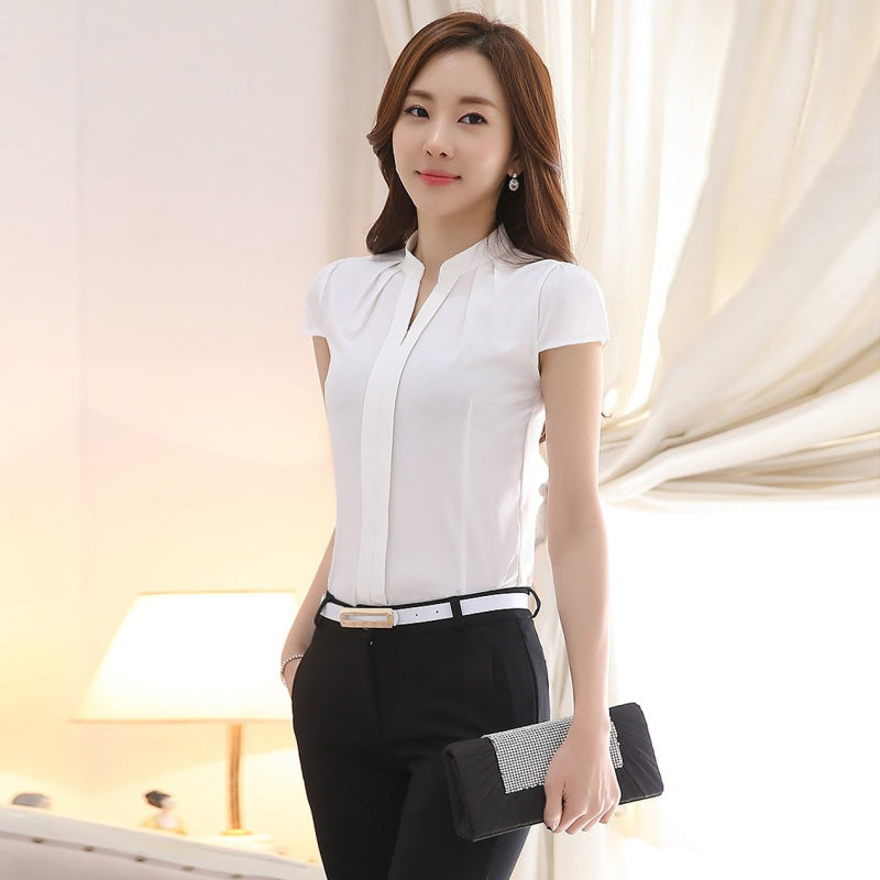 ca95846bde582 ROPALIA Summer Women Tops Short Sleeve Casual Chiffon Blouse Female V-Neck  Work Wear Solid