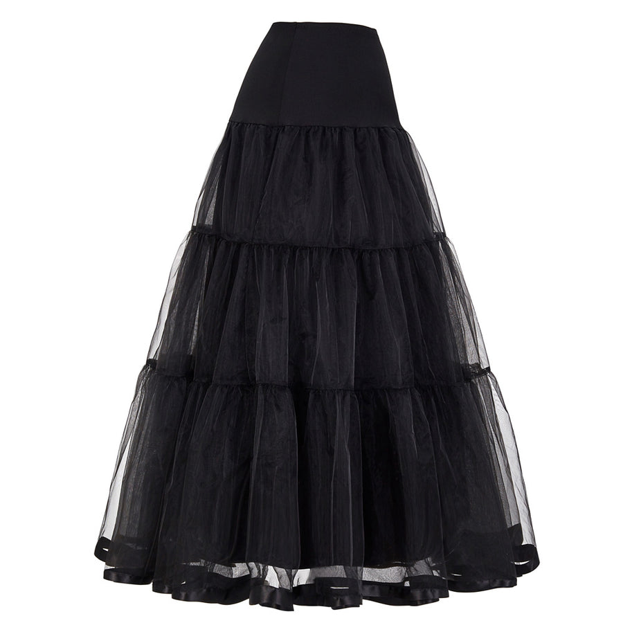 Plus Size Long Tutu Skirts Womens Rockabilly Underskirt Tulle Crinoline Vintage Midi Bridal Wedding Petticoat Pleated Maxi Skirt