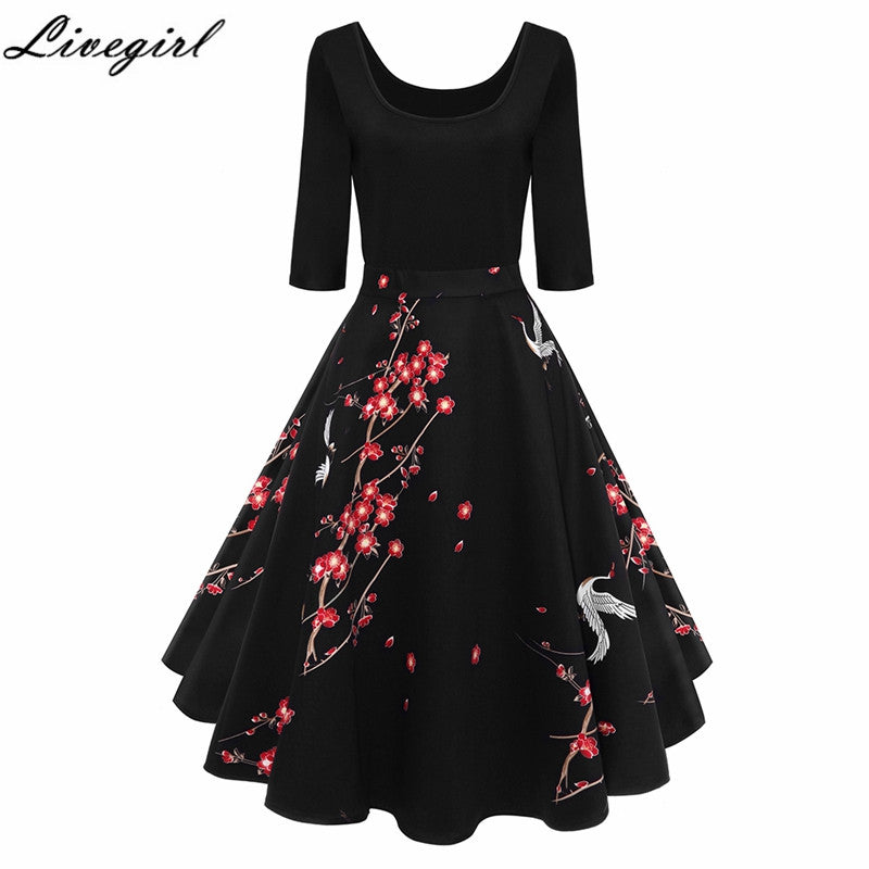 Women Vintage Dress Print Retro Robe Half Sleeve Audrey Hepburn 50s Swing Elegant Party Spring Autumn Dress Feminino Vestidos