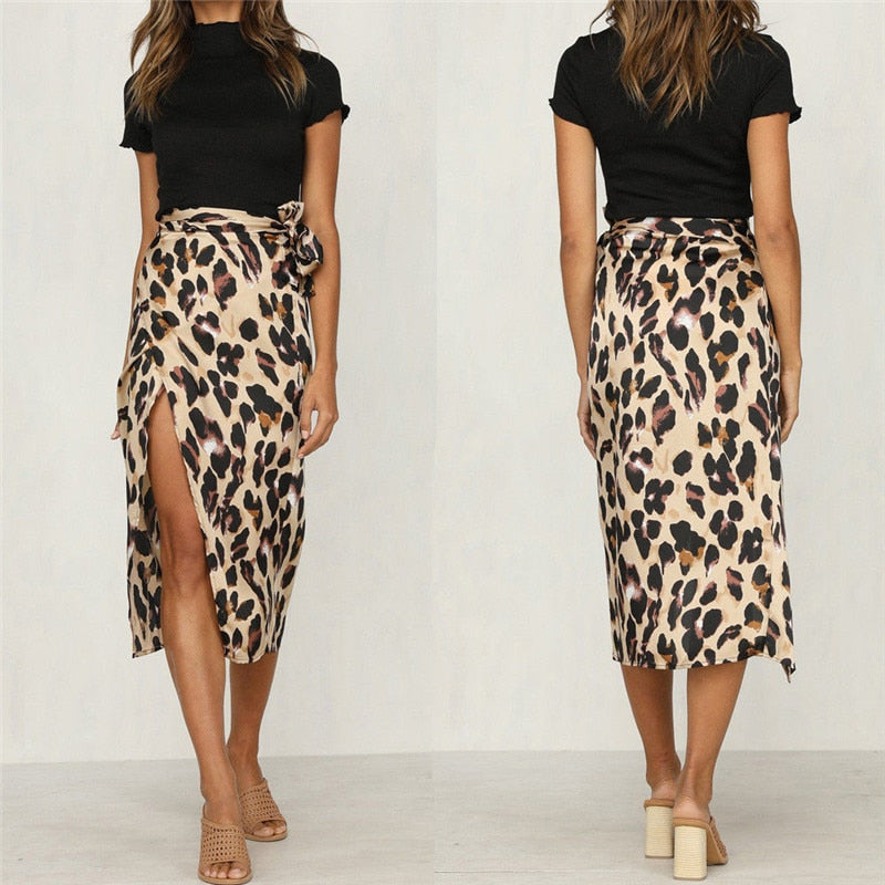 New Fashion Women Leopard Skirt Slim Wrap Asymmetric Bandage Lace Up Side  Split Gypsy Drape Bodycon 650940ee5be9