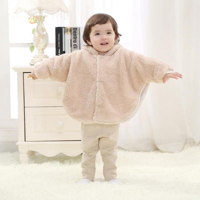 0-24M Newborn Baby Boys Girls Warm Hooded Coat Winter Fur Cloak Long Sleeve Jacket Kids New Arrival Clothes - upcube