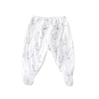 0-12M Lovely Newborn Infant Baby Boy Girl Print Long Pant Cotton Harem Pant Trouser with Sock - upcube